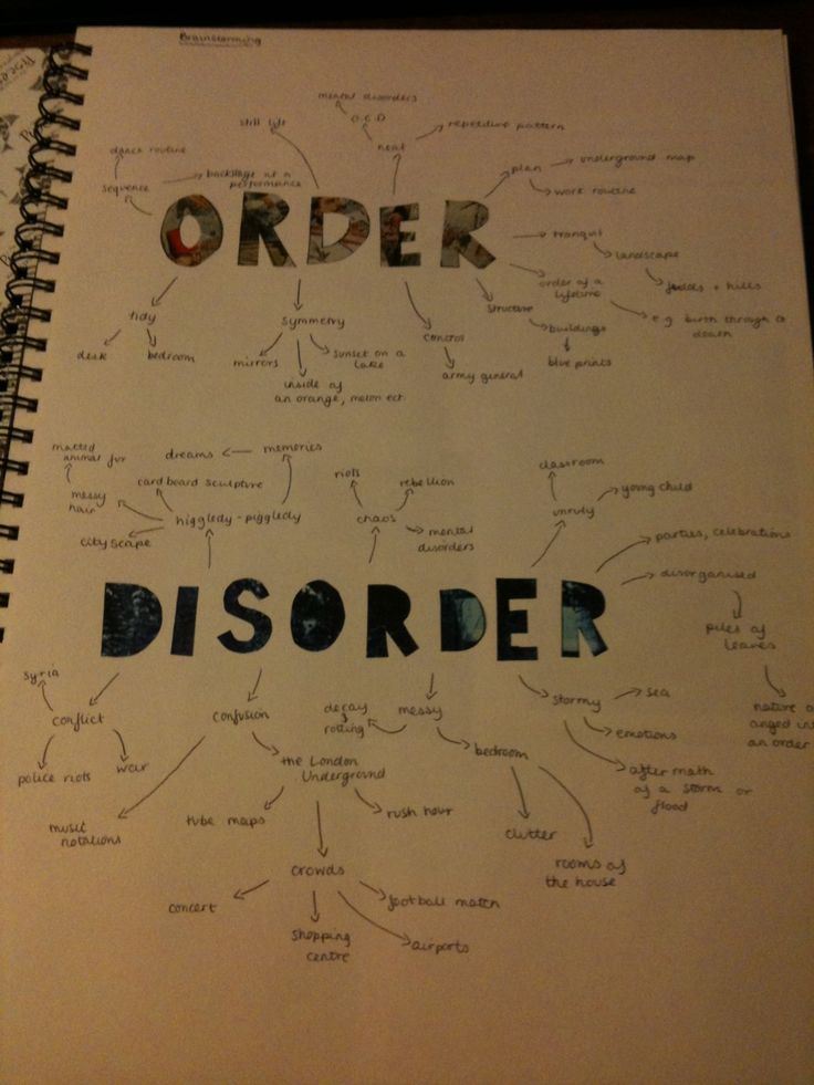 Our final theme is Order and Disorder so to start off my book, I did some brainstorms