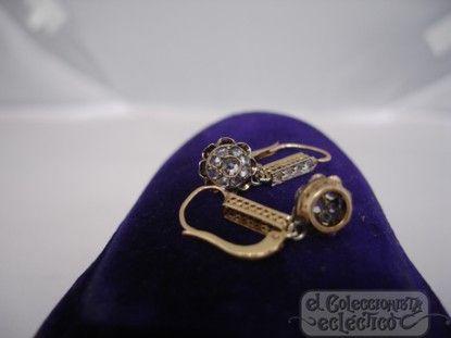 pendientes antiguos mujer oro diamantes estuche