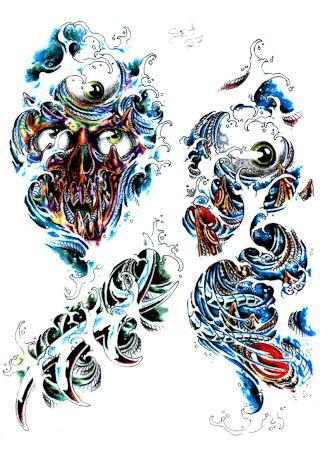 Skull Cartoon Colour Tattoo Designs Pic 13 Picture Flash Art