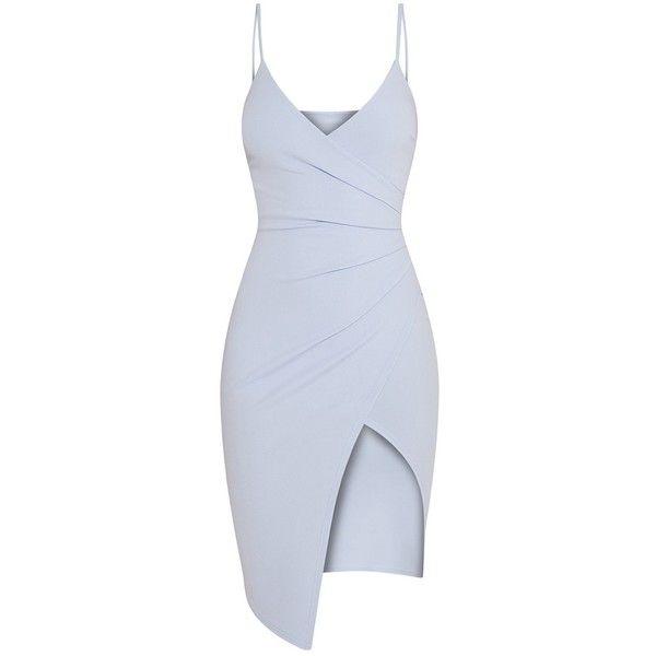 Lauriell Khaki Wrap Front Crepe Midi Dress ($45) ❤ liked on Polyvore featuring dresses, khaki midi dress, crepe dress, mid calf dresses, crepe fabric dress and midi day dresses