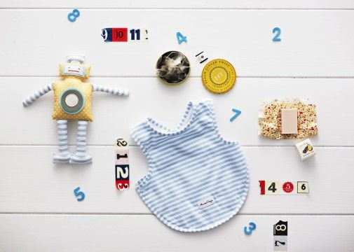 iWobot - $65.00  Alimrose Designs Robbie Robot rattle, Alimrose Designs arm hole back fastening blue and white stripe bib, Harney & Sons Fine Teas peach ginger twist black tea tagalong tin contains five pyramid silken tea sachets, Papinelle pear & cinnamon hand-made soap small 40g (made in Australia) www.thespecialdeliverycompany.com.au