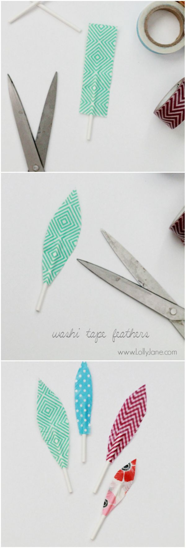 DIY | washi tape feathers, so cute + easy to make!