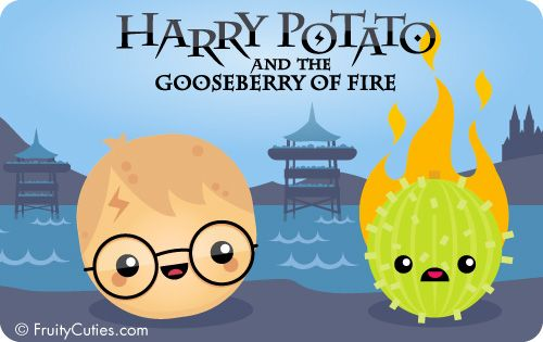 harry potato and gooseberry of fire in a kawaii style