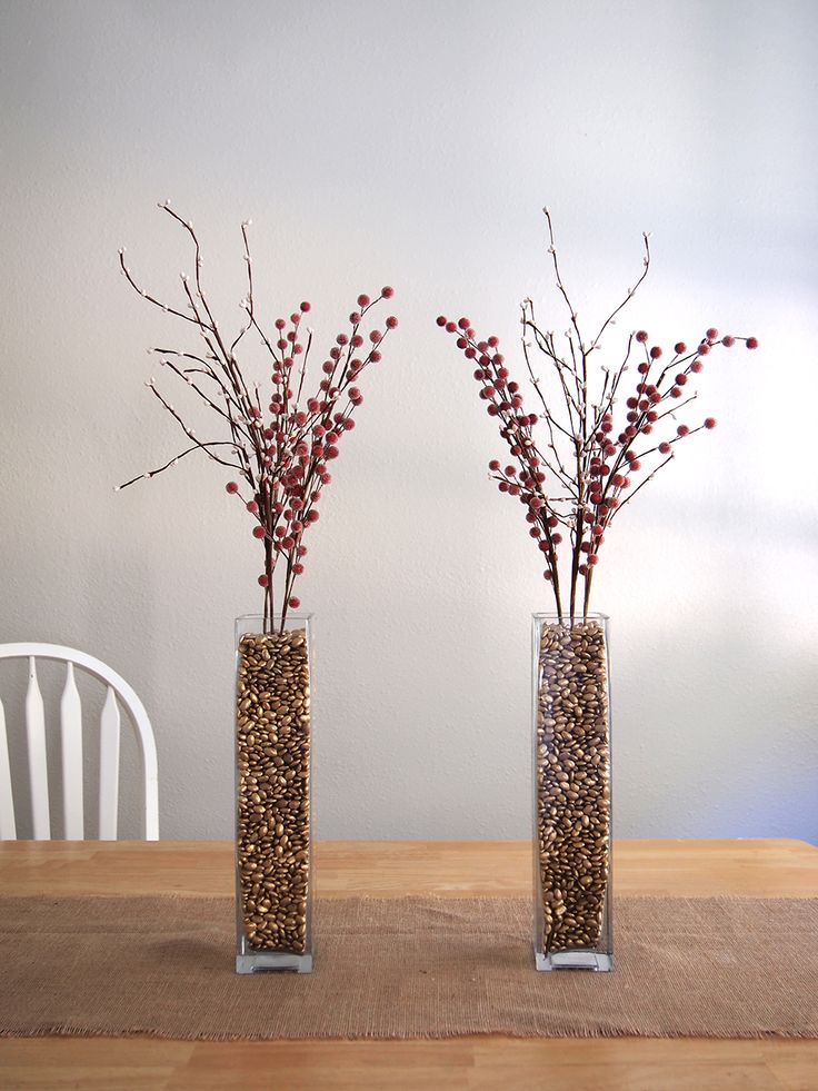 spray painted pinto beans used for vase filler - great idea!