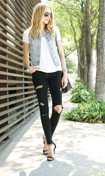 Look: Colete Jeans