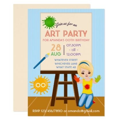 Art Party Birthday Invitation - invitations personalize custom special event invitation idea style party card cards