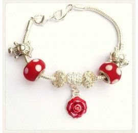 Red Rose Silver Bracelet by Miss AnnaSophia