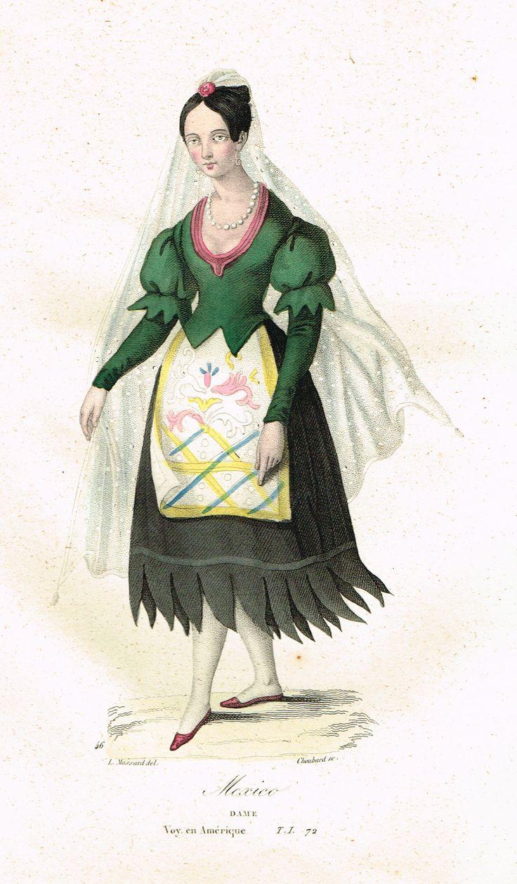 Mexico - Dame - Voyage en Amérique - Tome I page 72 - Histoire pittoresque des voyages par L.-E. Hatin - 1844 - MAS Estampes Anciennes - Antique Prints