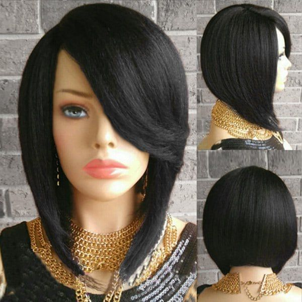 Side Parting Short Straight Inverted Bob Synthetic Wig - BLACK