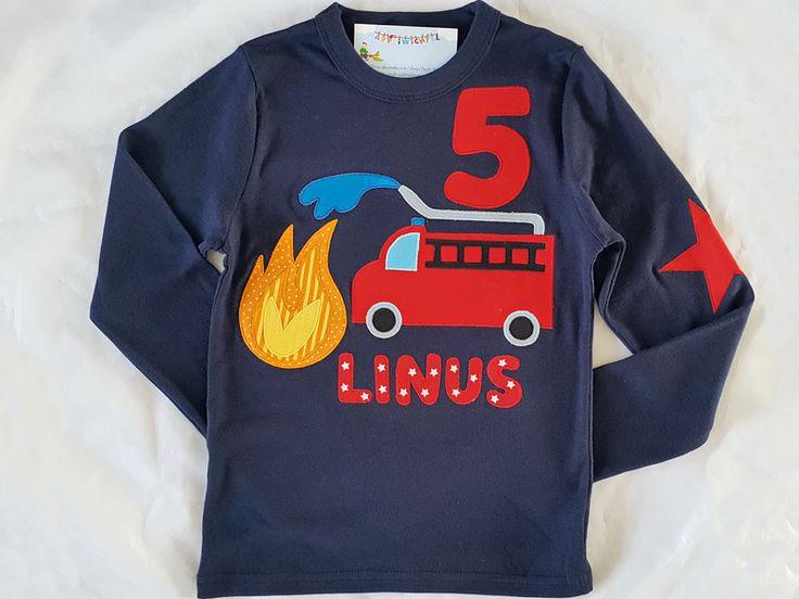 Langarmshirts - Geburtstagsshirt Feuerwehr 1.2.3.4.5... - ein Designerstück von Appli-Wichtel bei DaWanda