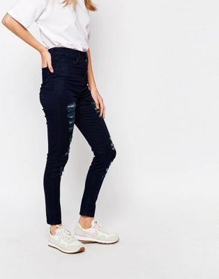 Голубые облегающие джинсы с завышенной талией Waven Anika