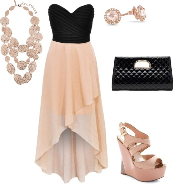 A little out there for me... But adorable just the same! Strapless chiffon black and pink high-low dress, black patent clutch, pink rose-gold studs,  pink patent wedges, pink and gold layered necklace