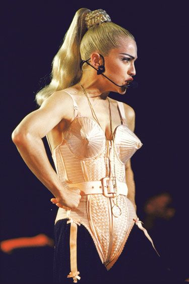 "Madonna's braided ponytail during her ""Blonde Ambition"" tour: Hair Salons, Fashion, Jean Paul Gaultier, Ambition Tours, Madonna Blondes Ambition, Corsets Inspiration, Braids Ponytail, Jeans Paul Gaultier, Ponytail Hairstyles"