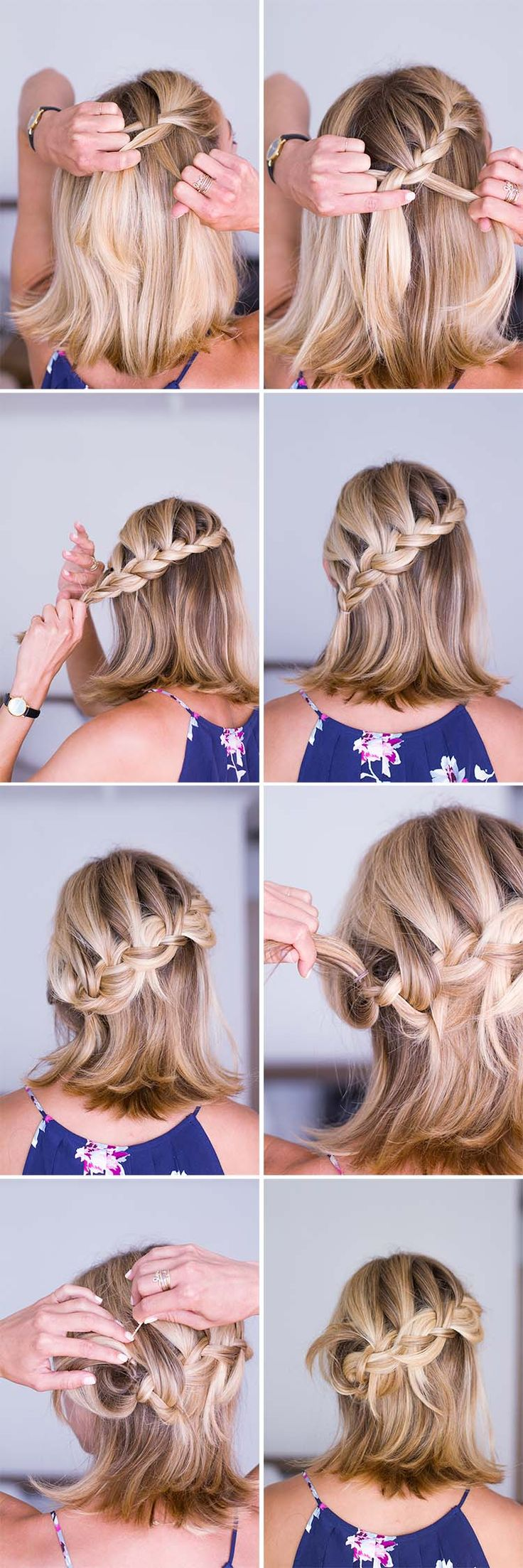short hair braid tutorial + half-up hairstyle via anne sage