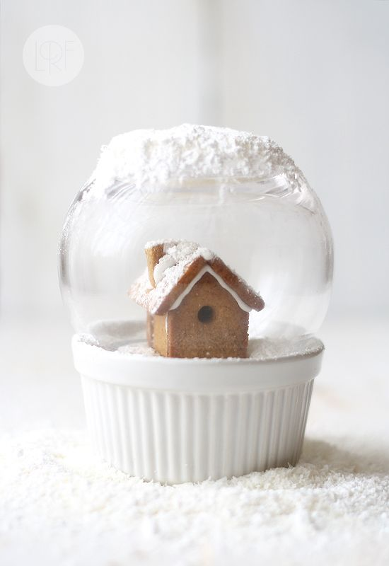 Edible Snow Globe-what an awesome idea! small gingerbread house on top of chocolate pots de creme and then a glass vase on top.