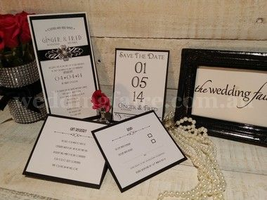 A classy 1920's inspired Black & White invitation.  Mounted on white and black glitter card and finished with a beautiful diamante and silver filigree embellishment on satin ribbon.  These can be made in any colour to match your theme.  Insert information cards can also be made to match.