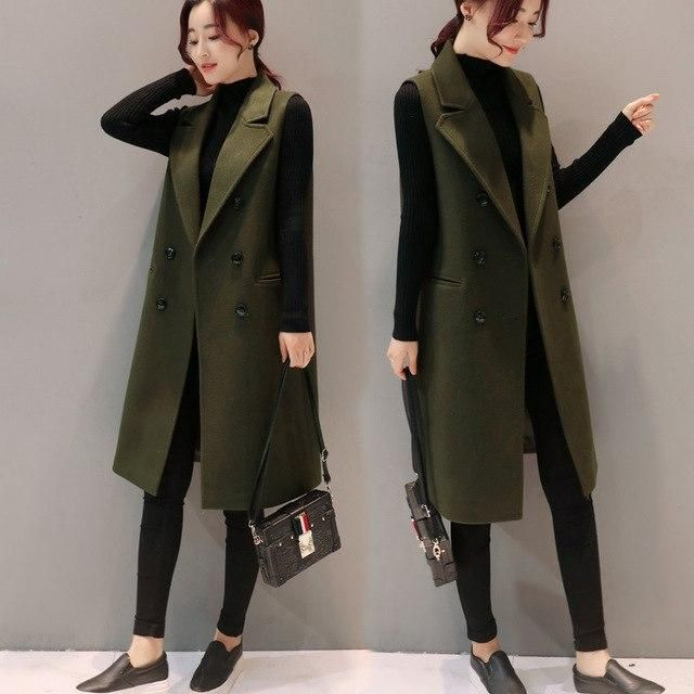 Woolen Vest Women 2019 Autumn Winter Sleeveless Cardigan Waistcoat Long Blazer Vest Jackets Parkas Chaleco Mujer C3613 002 army 3