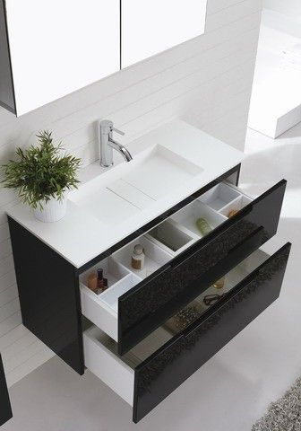 900mm 'Aspen' Wall Mounted Black Bathroom Vanity With Soft Closing Drawers By Nova Deko. AUD 839.00