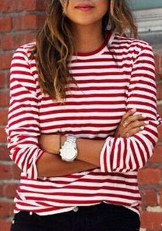 Rot-weiß Gestreiften Langarm Rundhals Herbst Beiläufige T-Shirt Pullover Sweatshirt für Damen