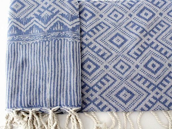 Blue Navajo Beach Towel | Bohemian Beach Blanket | Native American Yoga Mat Towel | Southwestern Oversized Scarves | Geometric Ornament Ikat Turkish Towels