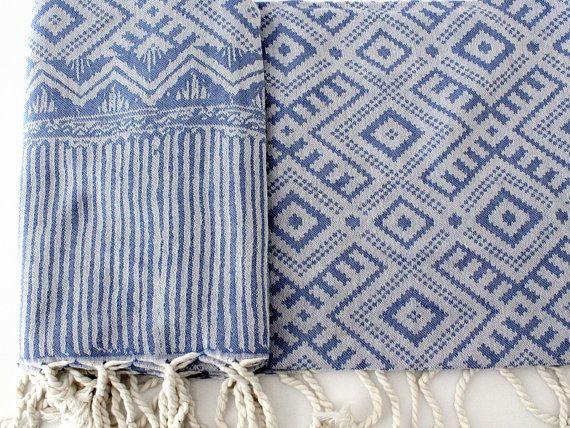 Blue Navajo Beach Towel   Bohemian Beach Blanket   Native American Yoga Mat Towel   Southwestern Oversized Scarves   Geometric Ornament Ikat Turkish Towels