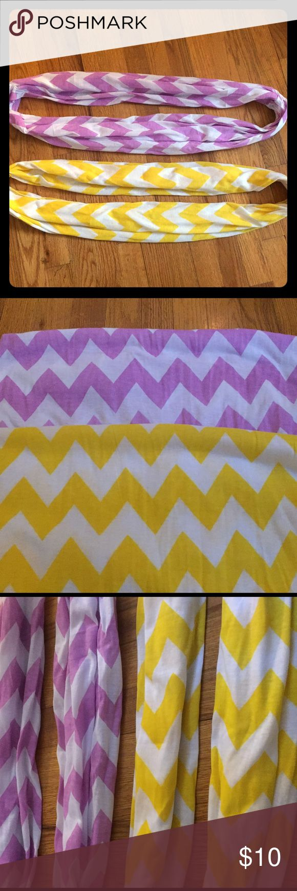 2 chevron scarves Purple/white chevron and yellow/white chevron scarves. Great condition, practically new Accessories Scarves & Wraps