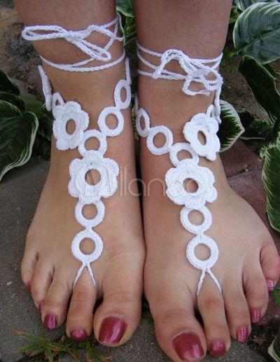 Elegante bianco caviglia cinturino fiore all'uncinetto sandali a piedi nudi femminili - Milanoo.com