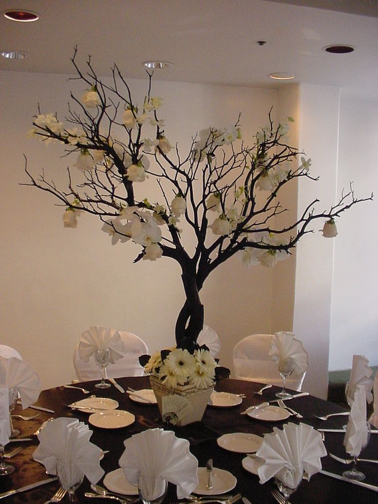 Best 25 branch wedding centerpieces ideas on pinterest tree gold candles a centerpiece for outside wedding junglespirit