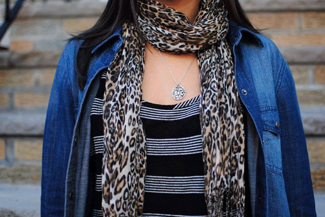Create the perfect hanging scarf look.