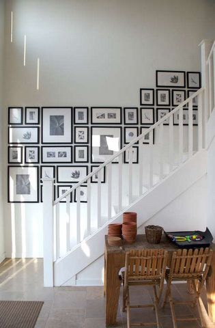 picture wall next to stairs