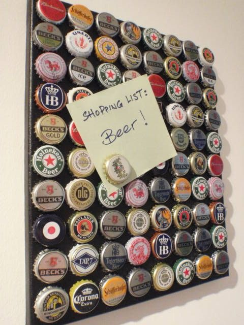 Beer Cap Magnet Board Gift idea for boyfriend, brother or Dad's that love beer. For Cavern using bottle caps