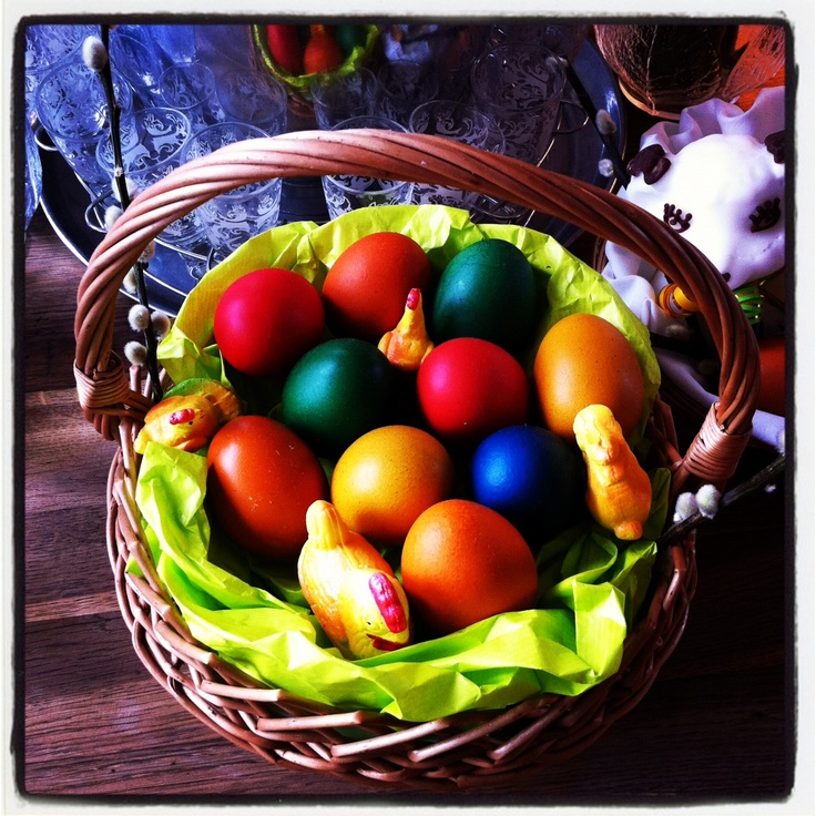 Colourful Easter boiled eggs.  In Polish tradition we boil eggs, then hand paint the shells, and then have them blessed by a priest.  Then we eat them for good luck.  In Polish these eggs are known as 'pisanka'