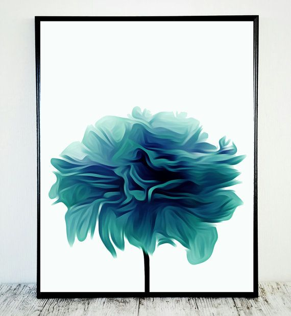 Teal Flower Print Abstract Teal Print Flower Print by CristylClear