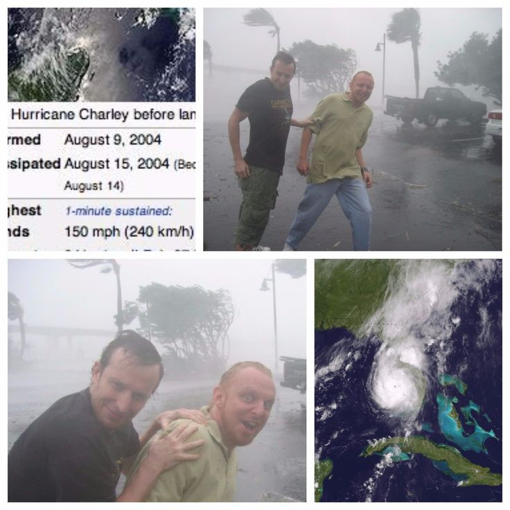 Derek De Vette (@DerekDeVette)   HURRICANE CHARLEY, FL. This is  Class 4 150 mph. You can survive it in a decent structure. Actor Bodhi Elfman and I were staying at a resort and sprinted out for the pic which photog Denice Duff shot. Hotel security was NOT happy with us.  Irma on the other hand is  Class 5 wind 185+ mph. VERY dangerous. Even in a car, the  difference of 35 mph can be deadly. So be safe everybody. Most of my family is evacuating out of State. Godspeed to Florida.