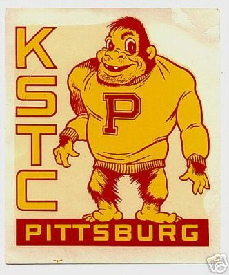 Vintage gorilla mascot from Pittsburg State University, known as Kansas State Teachers College until the late 1950s.