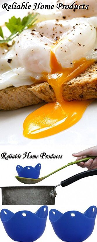 Reliable Home Products - Best Egg Poacher Cups - Makes a Perfect Single Poached Egg Dish in Silicone Pod Steamer cooked in a Pan - Pack of 2 Basket Holders - Color is Blue Pouch