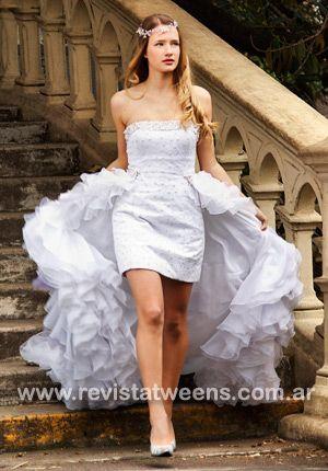 Vestidos de 15 años. Blanco, corto y largo atrás, Reina Juliette