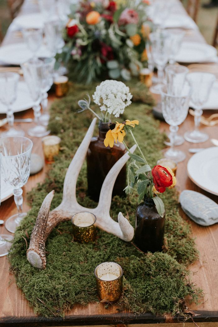 Earthy Table Decor From This Naturaly Boho Wedding In Maine | Image By  Emily Delamater Photography