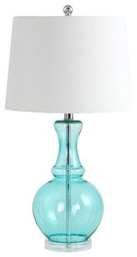 Sabine Glass Table Lamp, Teal beach-style-table-lamps