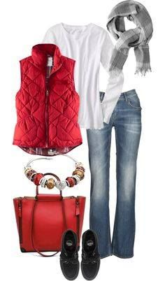 Cute jeans, nice pop of color with vest.