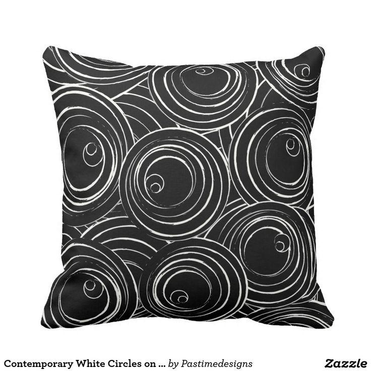 Contemporary White Circles on Black MoJo Pillow