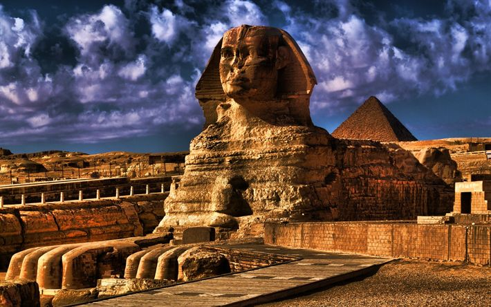 Download wallpapers Great Sphinx, pyramids, egyptian landmarks, Giza, sand dunes, Egypt, Africa, HDR