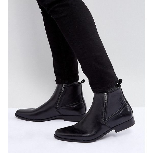 ASOS Wide Fit Chelsea Boots In Black Faux Leather With Zips ($43) ❤ liked on Polyvore featuring men's fashion, men's shoes, men's boots, black, mens wide width work boots, mens black shoes, mens pointed toe boots, mens wide shoes and mens zip boots