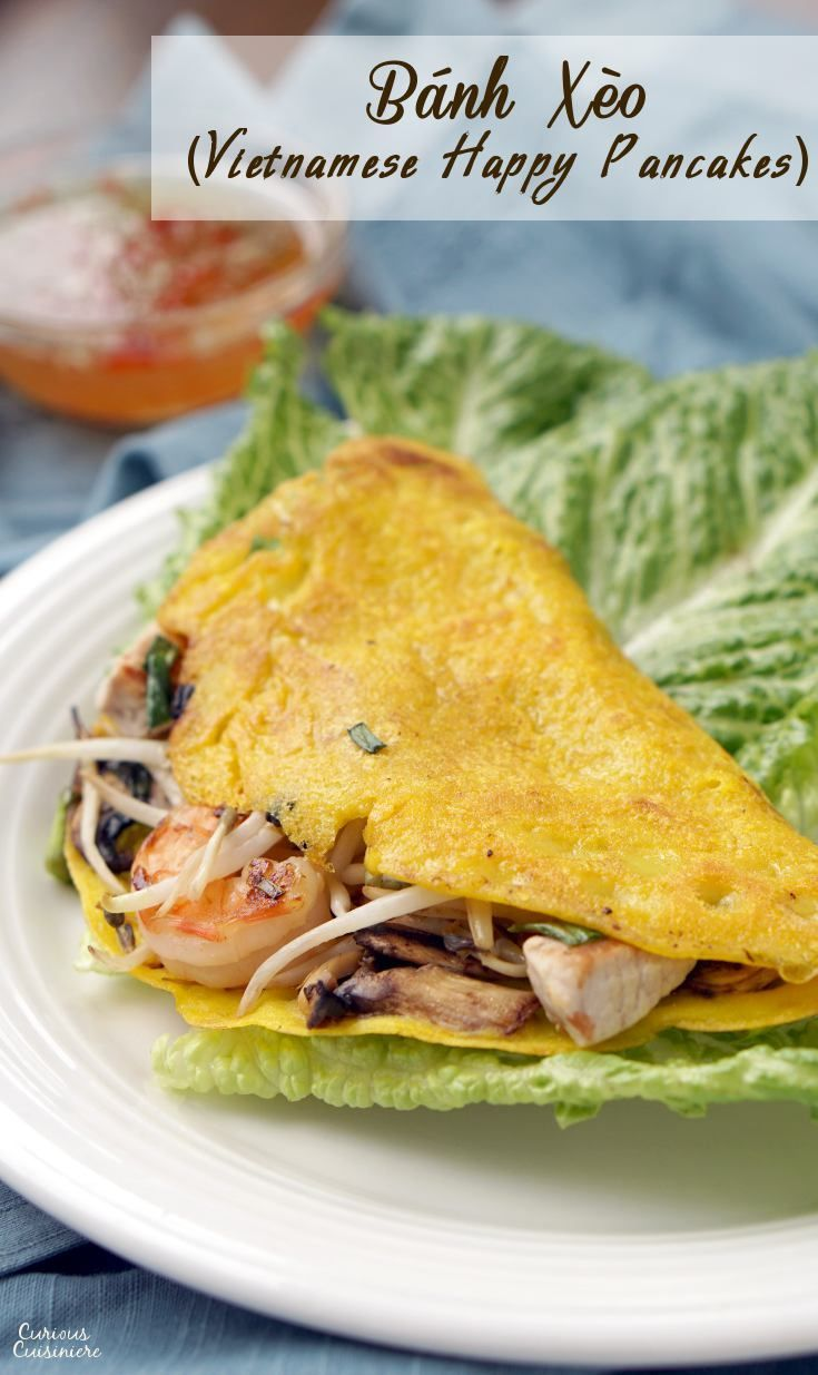 Bánh xèo, or Vietnamese Happy Pancakes, are crepe-like rice flour pancakes that bring a light batter and ample fillings together for one tasty, crispy breakfast or snack! | www.CuriousCuisiniere.com