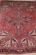 Large Persian Heriz red and blue ground rug carpet, 386cm x 283cm