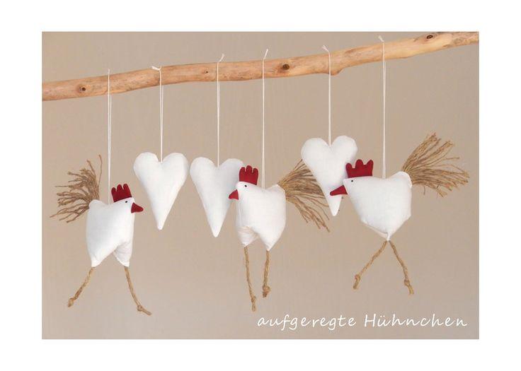 Deko-Objekte - Frühjahrs - Osterdeko 3 Hühnchen mit 3 Herzen - ein Designerstück von uggla-deko bei DaWanda