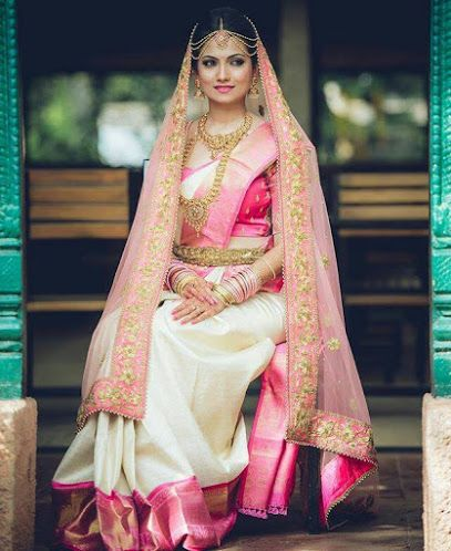 Weddig Bridal Lehenga - Bride in Beige Pink and Gold Saree Lehenga. WeddingNet #weddingnet #indianwedding #indianbride #indianwedding #bridallehenga #lehenga #pink #gold #beige #weddinglehenga #weddingsaree #bride #gown