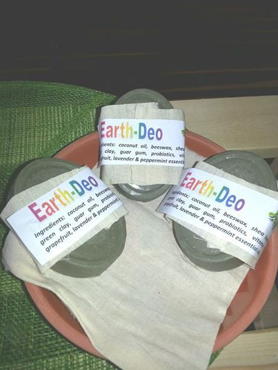 Earth Deo bars - a great alternative to regular manufactured deodorant that has harmful chemicals in it. And this bar has no baking soda in it. Can be purchased in store or online.