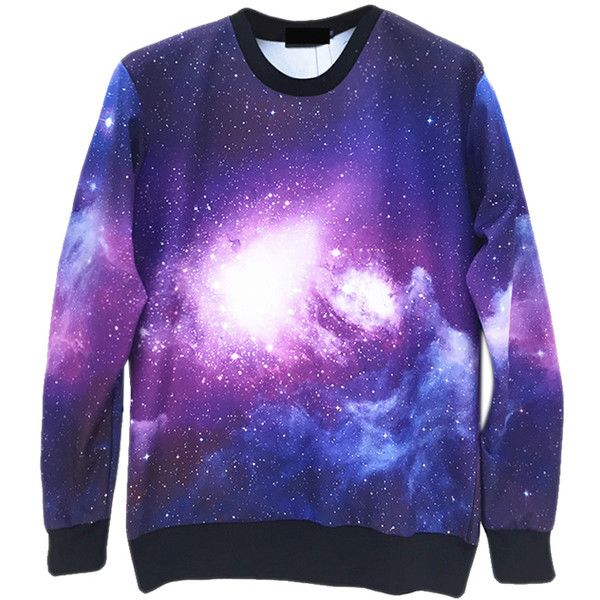 Purple Fashion Womens Jumper Crew Neck Galaxy Printed Sweatshirt ($26) ❤ liked on Polyvore featuring tops, hoodies, sweatshirts, shirts, galaxy, jumpers, purple, galaxy shirt, galaxy sweatshirt and galaxy crewneck sweatshirt