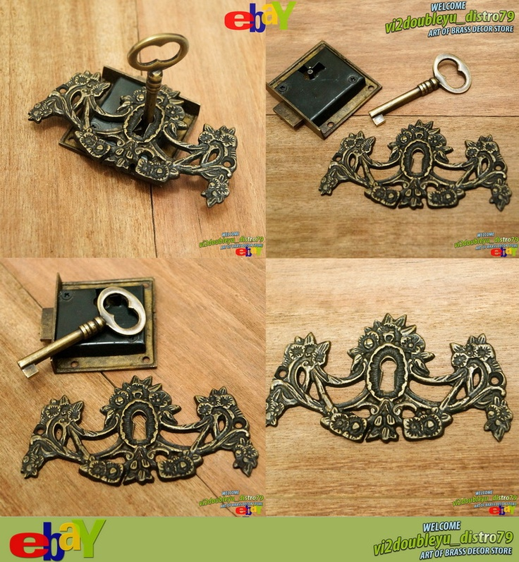 SET Antique Vtg BRASS KEY LOCK and SKELETON Keys with VICTORIAN KEY HOLE Decor, unused and GREAT GIFT for your home decor. #flyer #Key_lock #Key_hole #Brass #Antique #Vintage #Home_decor
